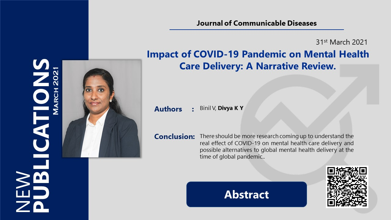 Impact of COVID-19 Pandemic on Mental Health Care Delivery: A Narrative Review.
