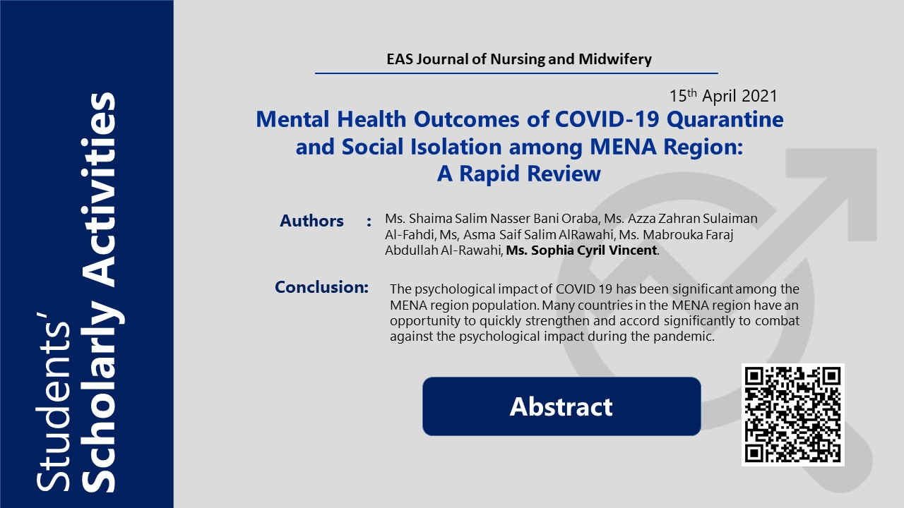 Mental Health Outcomes of COVID-19 Quarantine and Social Isolation among MENA Region:  A Rapid Review