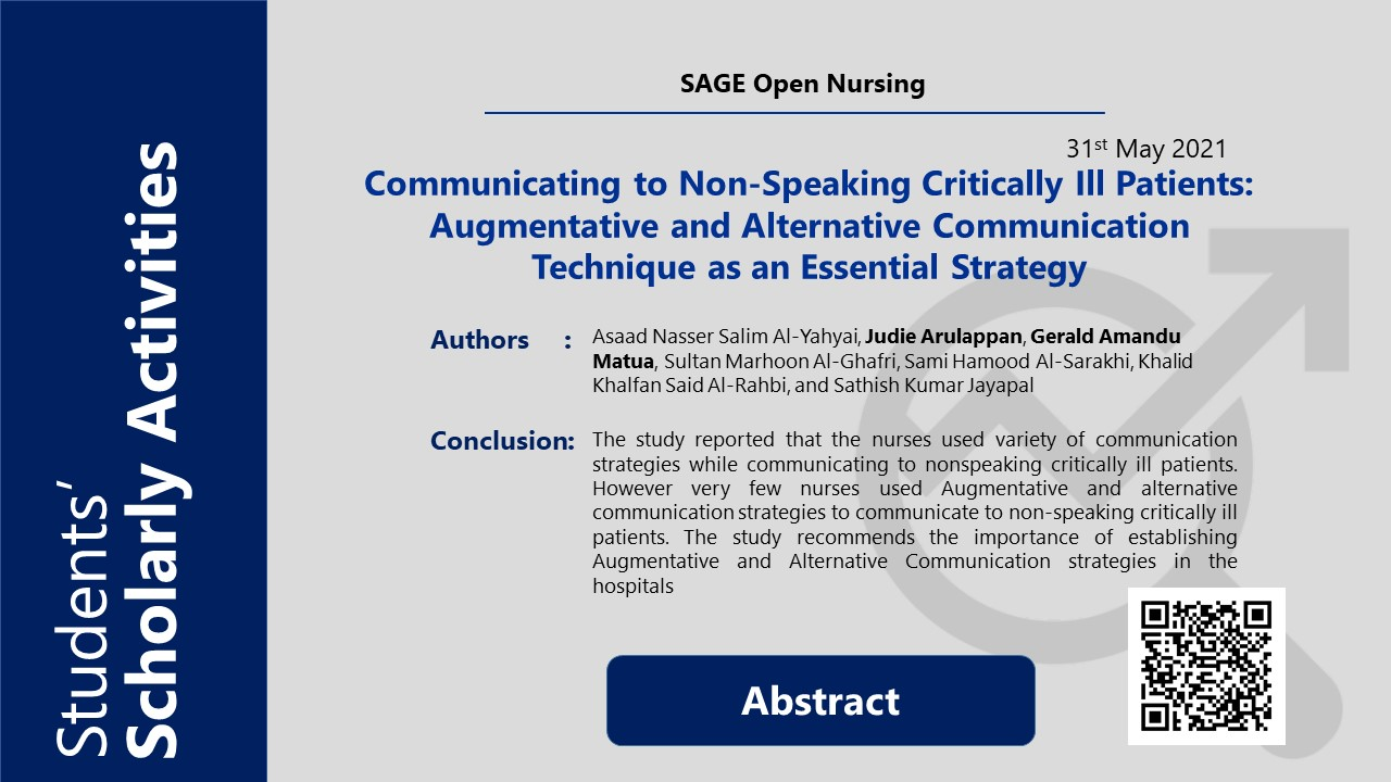 Communicating to Non-Speaking Critically Ill Patients: Augmentative and Alternative Communication Technique as an Essential Strategy