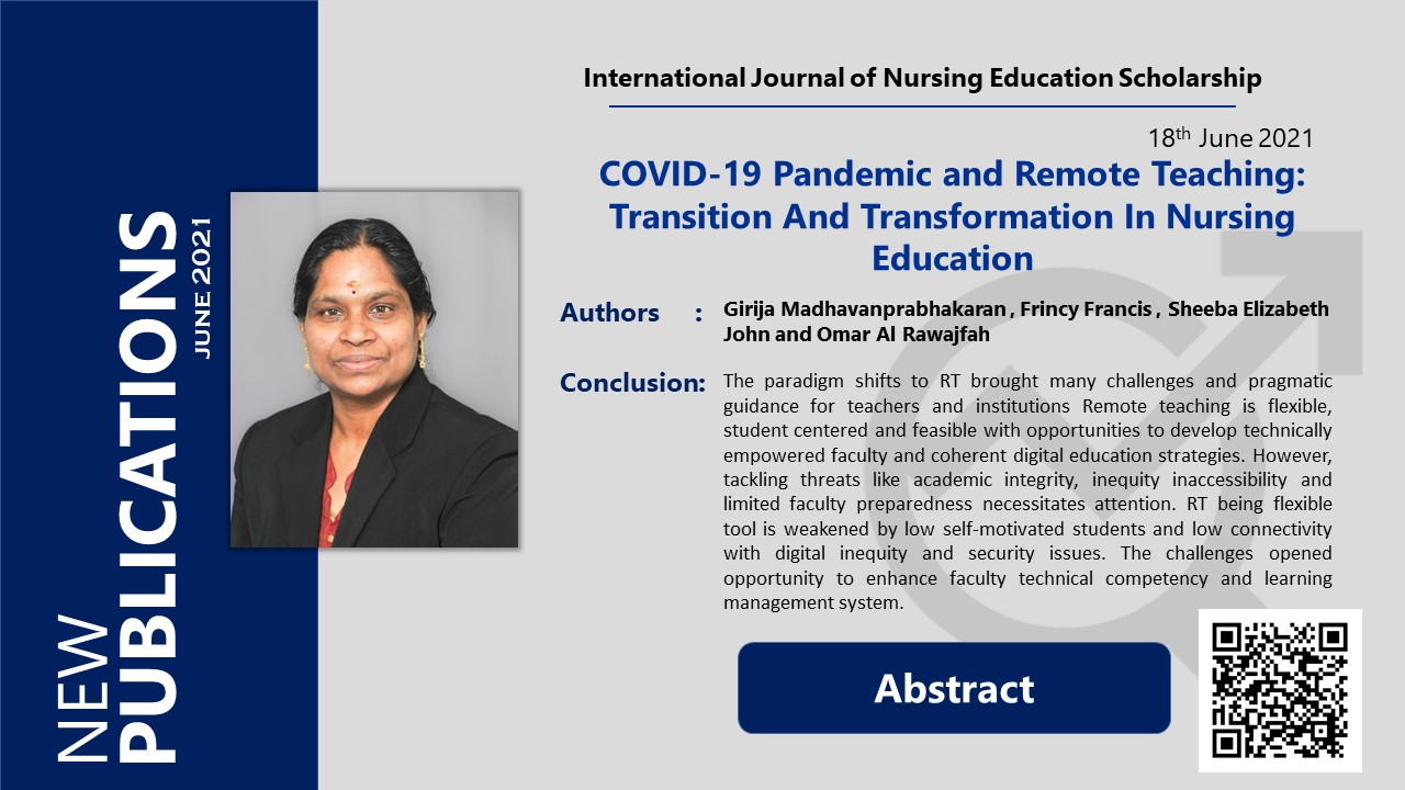 COVID-19 Pandemic and Remote Teaching: Transition And Transformation In Nursing Education