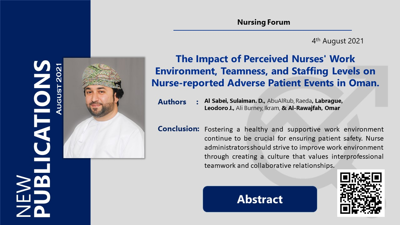 The Impact of Perceived Nurses' Work Environment, Teamness, and Staffing Levels on Nurse‐reported Adverse Patient Events in Oman.
