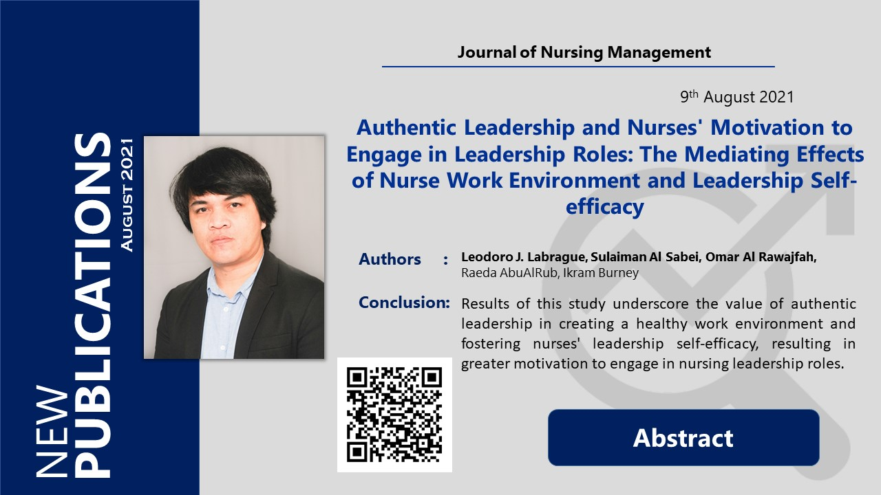 Authentic Leadership and Nurses' Motivation to Engage in Leadership Roles: The Mediating Effects of Nurse Work Environment and Leadership Self-efficacy