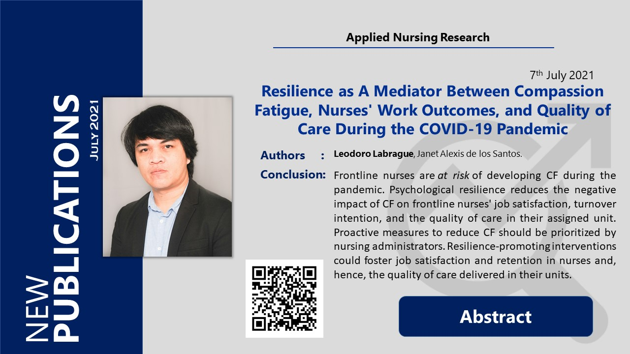 Resilience as A Mediator Between Compassion Fatigue, Nurses' Work Outcomes, and Quality of Care During the COVID-19 Pandemic