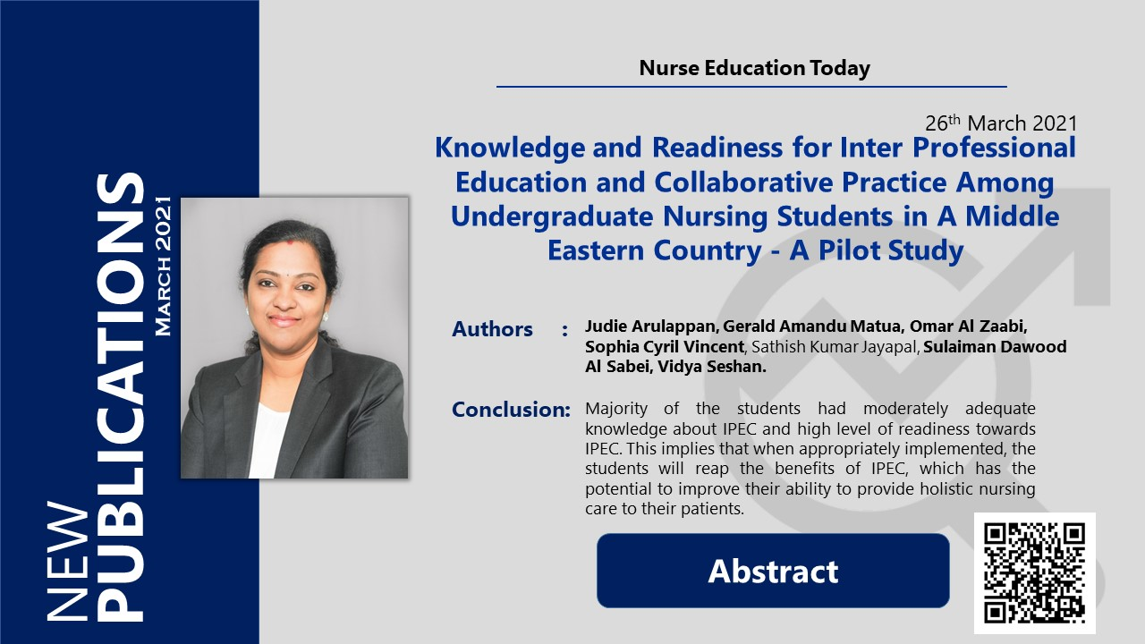 Knowledge and Readiness for Inter Professional Education and Collaborative Practice Among Undergraduate Nursing Students in A Middle Eastern Country - A Pilot Study