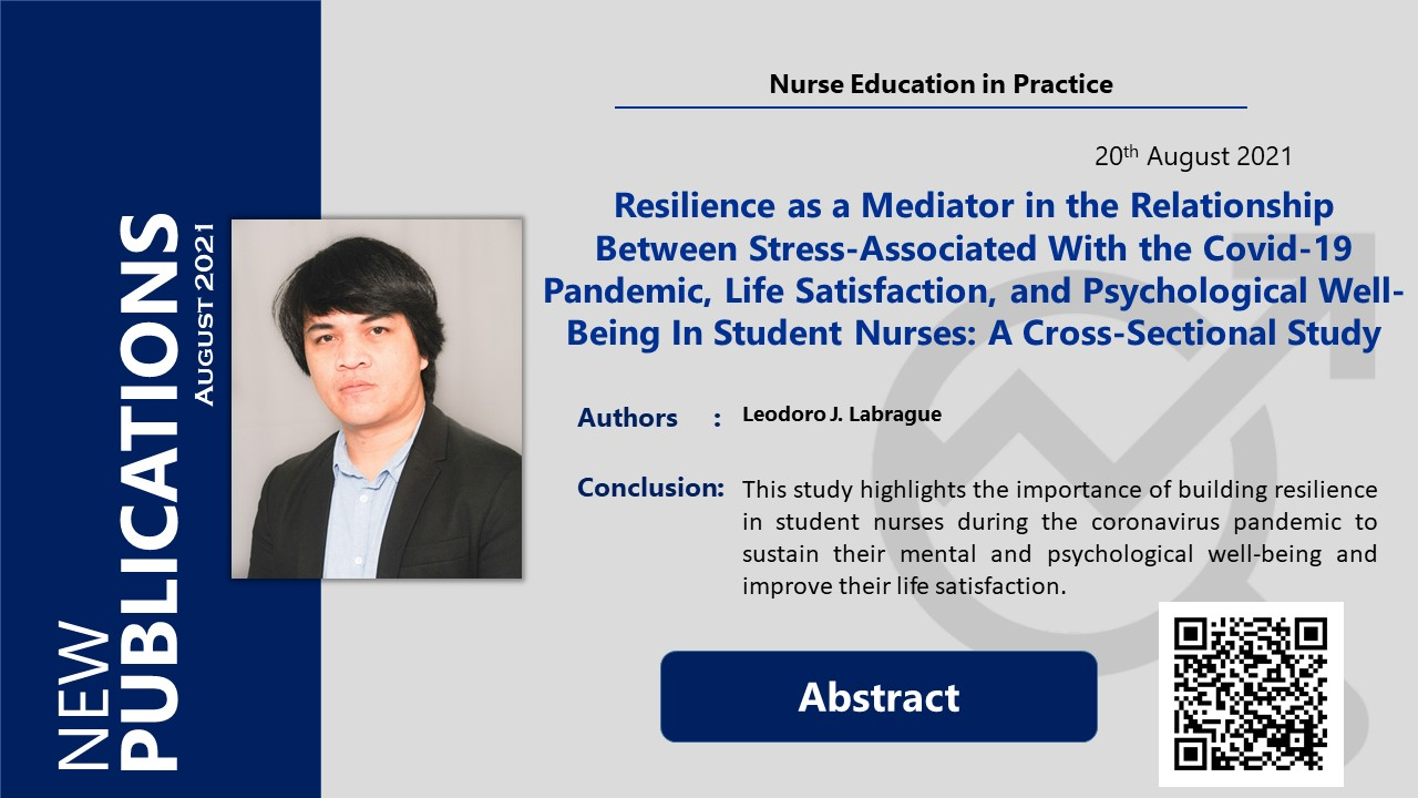 Resilience as a Mediator in the Relationship Between Stress-Associated With the Covid-19 Pandemic, Life Satisfaction, and Psychological Well-Being In Student Nurses: A Cross-Sectional Study