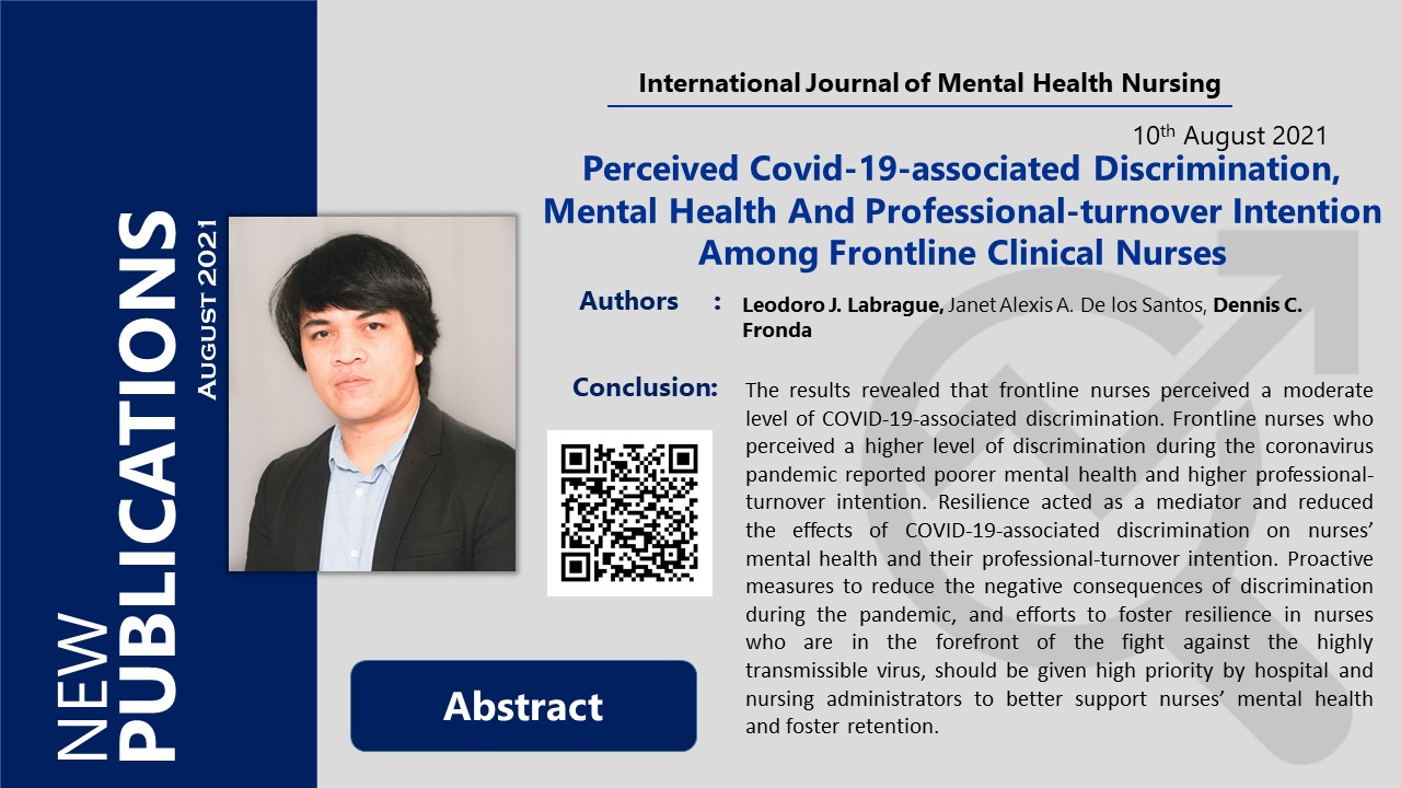 Perceived Covid-19-associated Discrimination, Mental Health And Professional-turnover Intention Among Frontline Clinical Nurses