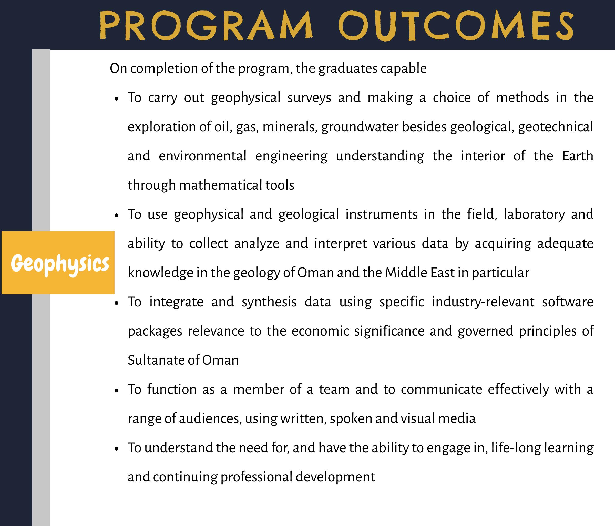 Outcomes - Geophysics